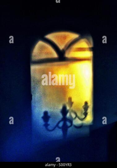 Shadow of a candelabra - Stock Image