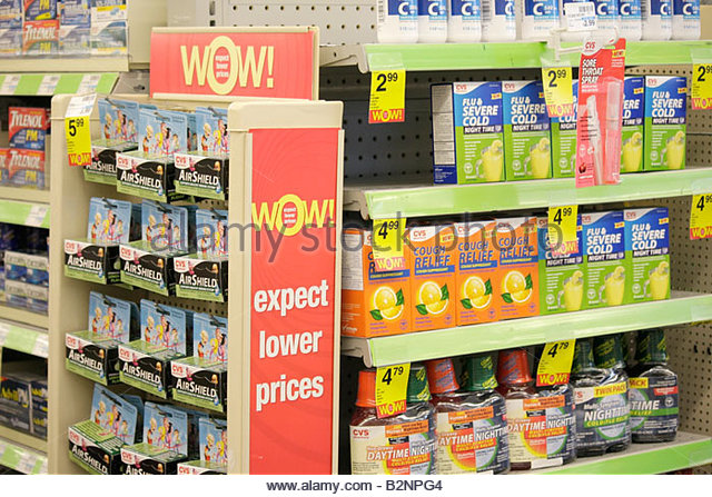 Miami Beach Florida CVS Pharmacy shelves cold medicine health sign products drugstore retail business chain brands - Stock Image