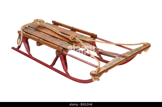 Antique Sled Isolated on a white background. - Stock-Bilder
