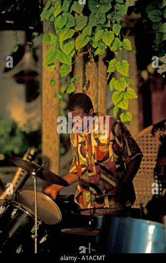 St Lucia west indies male performer steel band drum - Stock Image
