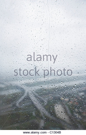 view from Donauturm tower in Vienna on a rainy day - Stock Image