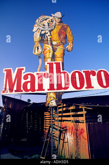 Costa Rica Marlboro Man cigarette billboard  - Stock Image