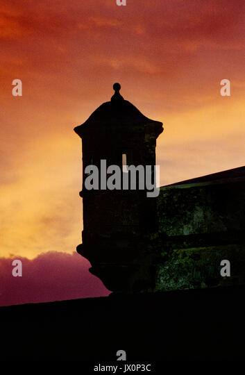 Fuerte de San Miguel or Fort St Michael in Campeche, Mexico. Turret or guard post. - Stock Image