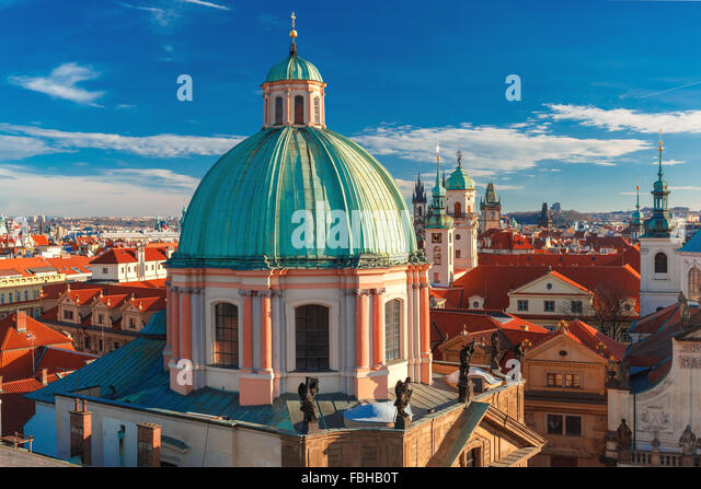 Aerial view over Old Town in Prague, Czech Republic - Stock Image