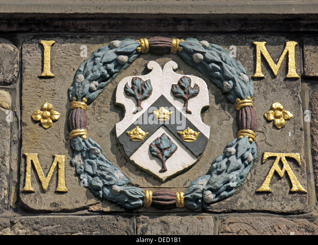 Crest from John Knox House High St Royal Mile Edinburgh Scotland UK - Stock Image