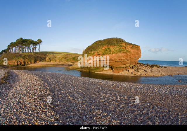 Cliffs on the coast, Otterton Ledge, River Otter, West Country, Budleigh Salterton, Devon, England - Stock Image