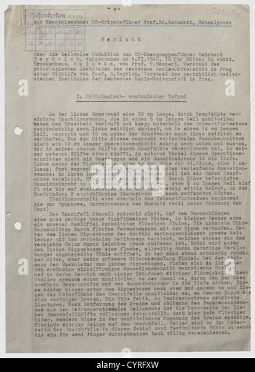 ss-Obergruppenfuehrer Reinhard Heydrich, Secret Autopsy Report Pa - Stock-Bilder