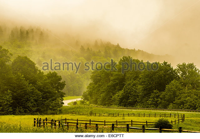 Mountain mist along the Highland Scenic Highway, Route 150, National Scenic Byway, Pocahontas County, West Virginia, - Stock Image
