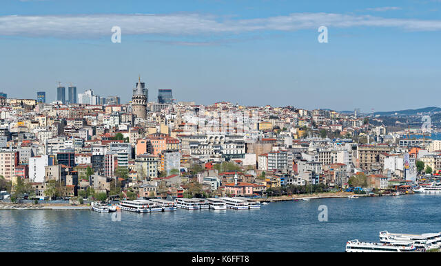 Istanbul, Turkey - April 19, 2017: Istanbul city view from Suleymaniye Mosque overlooking the Golden Horn with Galata - Stock Image