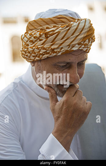Saudi architect wears the traditional Hijazi turban on the Friday religious holiday in Jeddah, Saudi Arabia - Stock Image