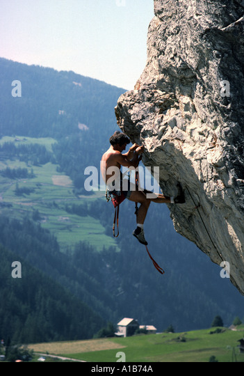 Artificial climbing in the French Alps, France - Stock Image