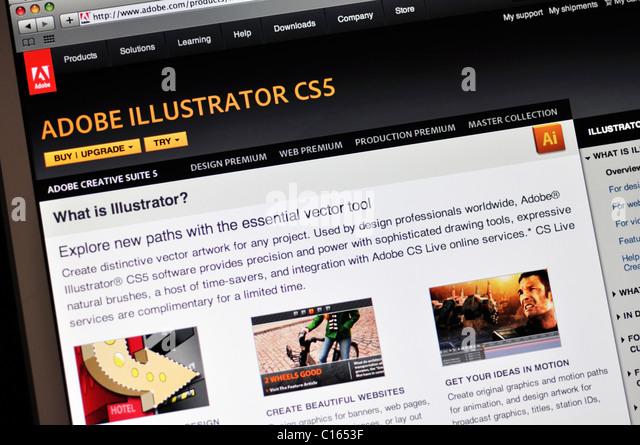 Adobe Illustrator CS5 website - Stock Image