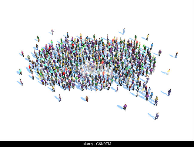 Large group of people forming a speech bubble symbol - 3D illustration - Stock-Bilder