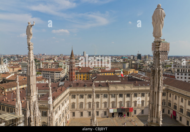 Aerial view from cathedral of Milan and it's intricate decorations over Milan, Italy - Stock Image