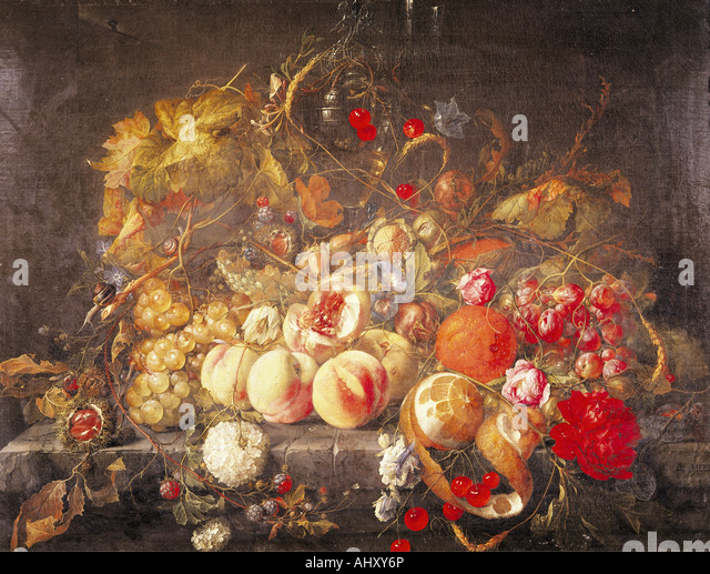 'fine arts, Heem, Jan Davidsz de, (1606 - 1684), painting, 'still life', oil on panel, 55,8 cm x 73,5 - Stock-Bilder