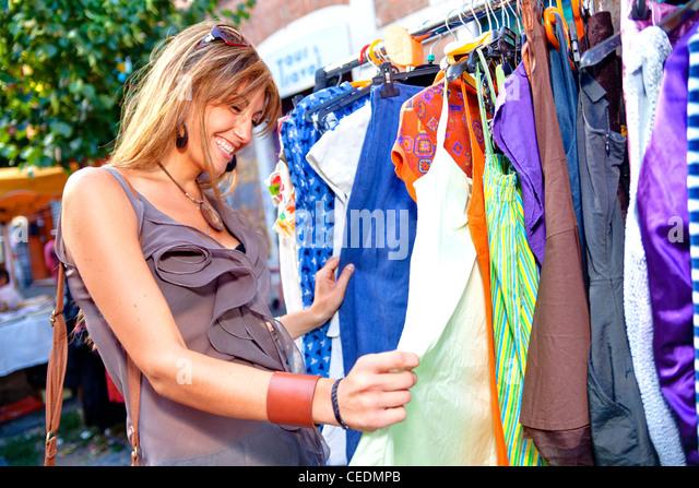 Woman clothing shopping - Stock Image