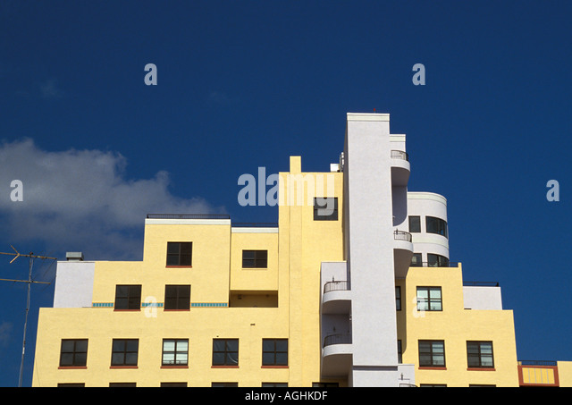 Miami Florida FL South Beach Classic Art Deco Architecture Ocean Drive yellow and white building - Stock Image