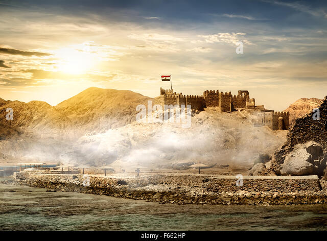 Island of pharaohs in Taba at the sunrise - Stock Image