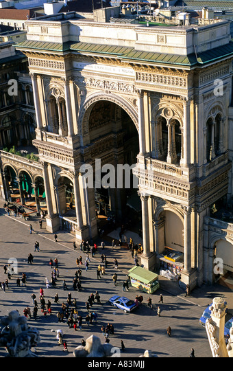 Vittorio Emanuele II Arch in Milan Italy - Stock Image