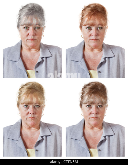Mature woman's red, blond or brown hair color choices - or go gray - Stock Image