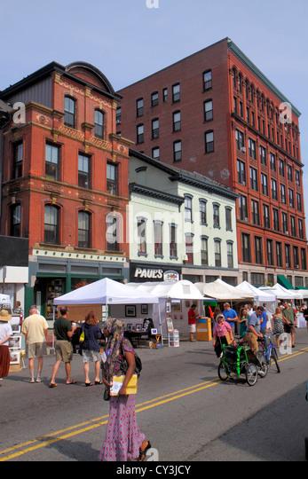 Portland Maine Congress Street WCSH 6 Sidewalk Art Festival artists vendors shopping historic buildings Black Muslim - Stock Image