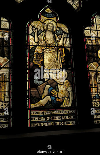St Wilfrids Church Grappenhall- Thomas Greenall Window, Warrington - Stock Image