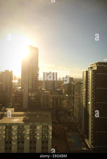 Perth, Western Australia, Australia Perth CBD At Sunrise - Stock Image