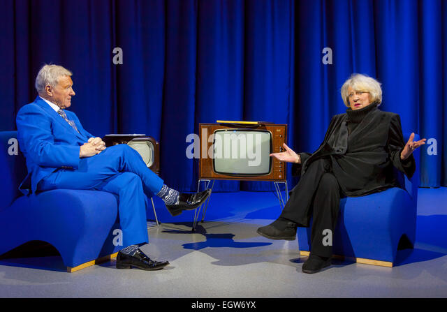 Walsall, West Midlands, UK. 2 March 2015. David Hamilton (L) with singer songwriter Jackie Trent at the recording - Stock Image