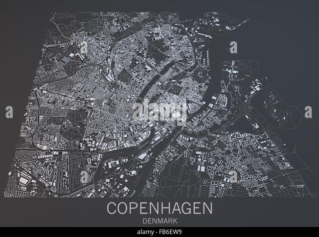 Copenhagen map, satellite view, Denmark - Stock Image