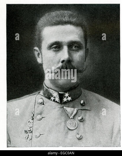 This photo shows the Archduke Francis Ferdinand, heir apparent to the throne of Austria-Hungary. It was his murder,along - Stock Image