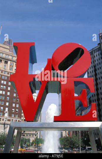Philadelphia Pa Pennsylvania JFK Plaza Love sculpture nicknamed love park - Stock Image