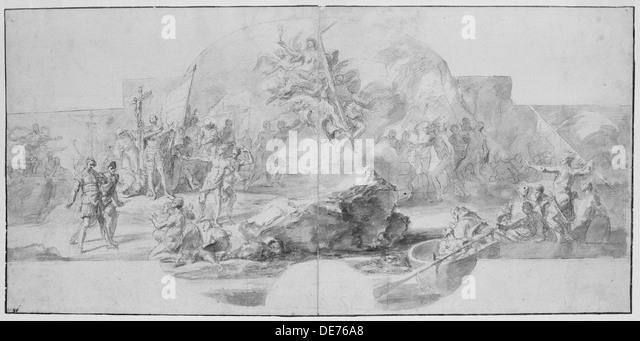 The Landing of Columbus in America, 1715-1716. Artist: Solimena, Francesco (1657-1747) - Stock-Bilder