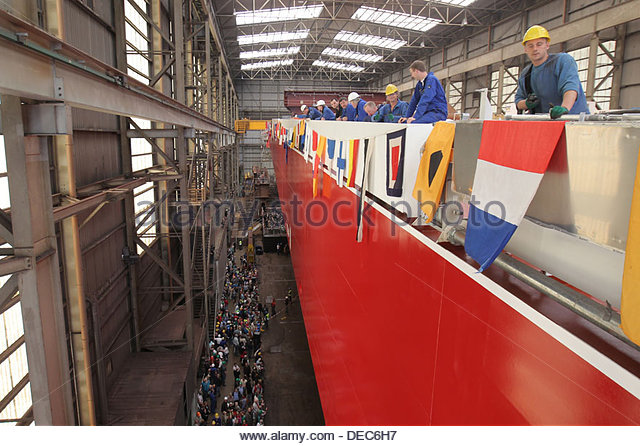 Flensburg, Germany, preparations for the launch of the ConRo ferry Oceanex Connaigra - Stock Image