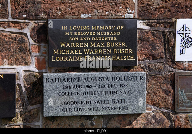 Lockerbie PanAm103 In Rememberance Memorial Warren Max Buser Michael Warren lorraine Frances Halsch Katherine Augusta - Stock Image