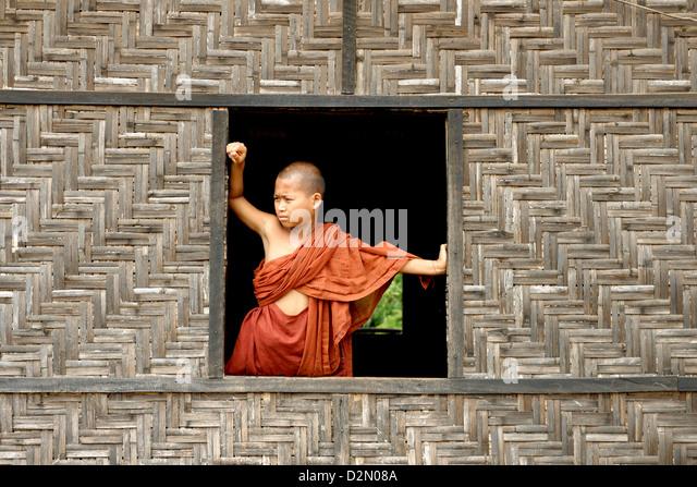 Buddhist monastery, Lashio area, Shan State, Republic of the Union of Myanmar (Burma), Asia - Stock-Bilder