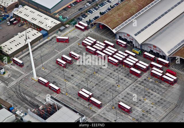 Aerial view of West Ham Bus Garage - Stock Image