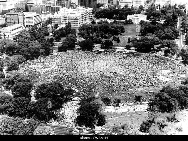 Vietnam War, aerial photograph of huge 'Anti-Vietnam War' demonstration, on the Ellipse (behind the White - Stock-Bilder