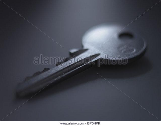Close up of metal key - Stock Image