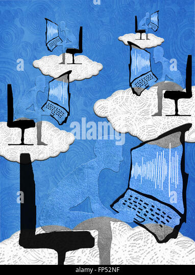 cloud computing concept digital illustration - Stock-Bilder