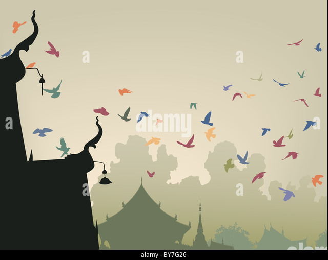 Illustration of colorful pigeons flying to a Buddhist temple roof - Stock Image