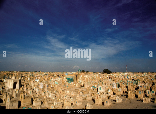 Muslim graveyard in holy city of Najaf in Central Iraq - Stock Image
