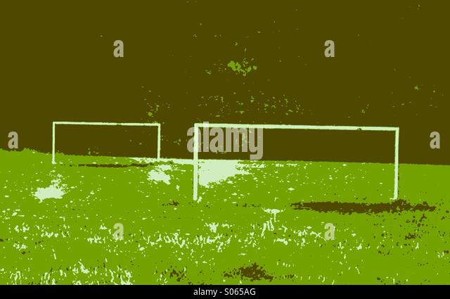 Stylised view of football pitch and goals - Stock Image