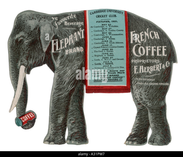 Advert Elephant Coffee - Stock Image