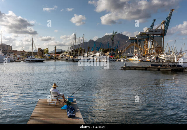 The port of Palermo, Sicily is one of the major ports for passenger traffic in the Mediterranean - Stock Image