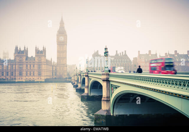 Big Ben and westminster bridge - Stock Image