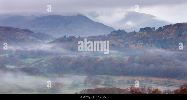 Mist lurks in the Brathay Valley near Elterwater, Lake District National Park, Cumbria, England. Autumn (November) - Stock Image