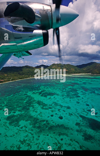 View from aircraft window Leaving Praslin Island Seychelles - Stock Image