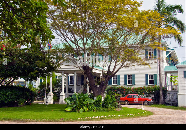 Belize City House of Culture or the former Government House Historic Site 1814 tourist attraction - Stock Image
