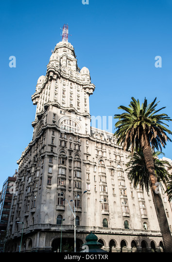 Salvo Palace, Independence Square, Montevideo, Uruguay - Stock Image