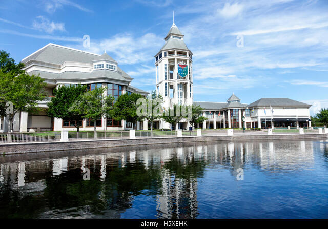 St. Saint Augustine Florida World Golf Village water lake Hall of Fame tower outside - Stock Image
